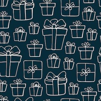 Słodkie Doodles Elementy świąteczne. Wektorowa Ręka Rysująca Ilustracja. Boże Narodzenie Prezenty Wzór. Premium Wektorów