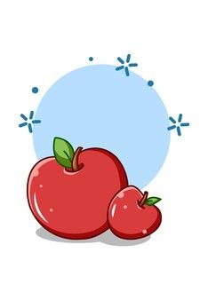 Słodkie duże jabłka ikona ilustracja kreskówka