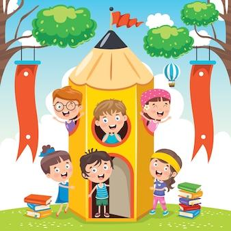 Słodkie dzieci bawiące się w domu ołówek