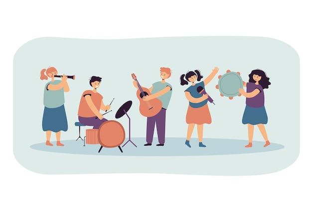 Słodkie dzieci grające muzykę i śpiewające razem płaska ilustracja.