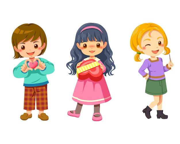 Słodkie dzieci kreskówka postać