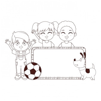 Słodkie dzieci kreskówki