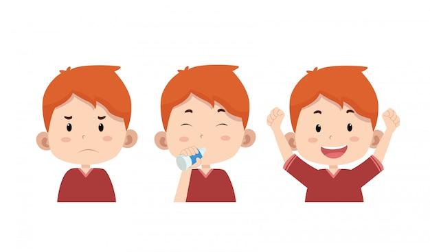 Słodkie dzieci postać pić wodę