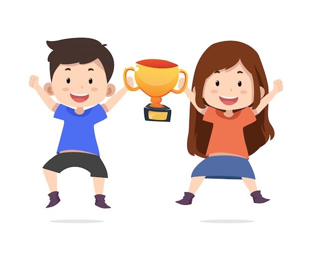 Słodkie dzieci postacie z trofeami