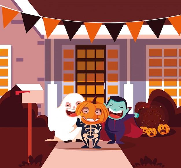 Słodkie dzieci przebrane na halloween