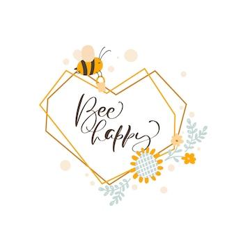 Słodkie dzieci serce miłość rama z pszczołą i bukietem słonecznika wieniec lato. dziecko w stylu skandynawskim wektor wielokąta ilustracja z tekstem bee szczęśliwy.