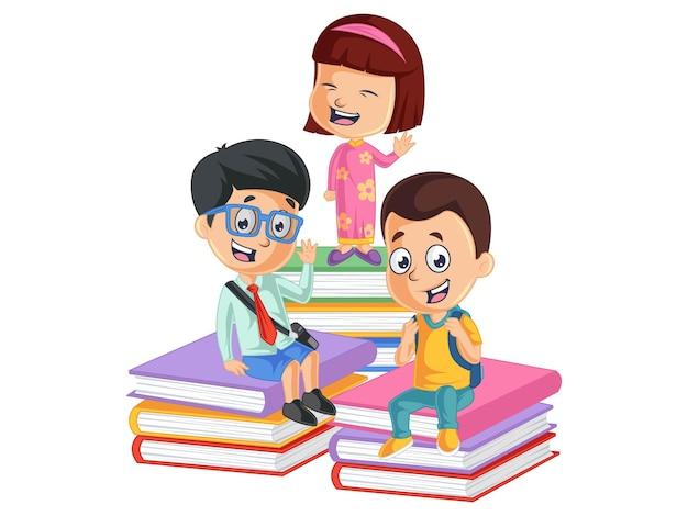 Słodkie dzieci siedzą na stosie książek z powrotem do ilustracji szkolnej