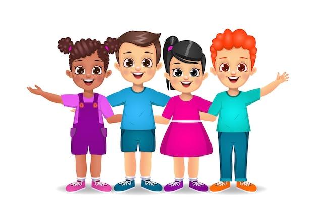 Słodkie dzieci stojące razem