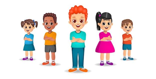 Słodkie dzieci stojące z rękami skrzyżowanymi zestaw