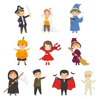 Słodkie dzieci w kostiumach na halloween. zestaw znaków halloween
