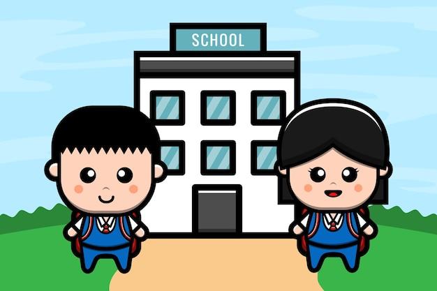Słodkie dzieci wracają do szkoły
