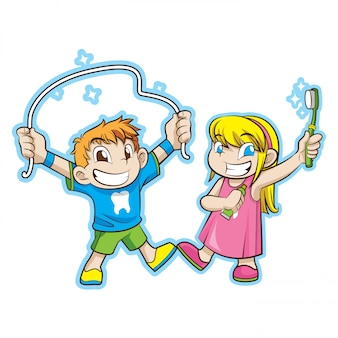 Słodkie dzieci z opieką stomatologiczną