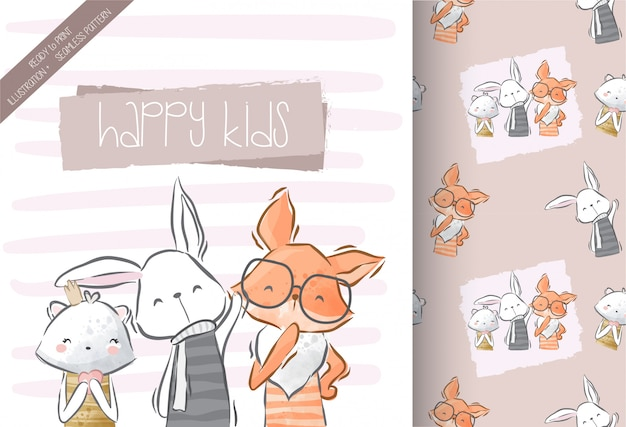 Słodkie dzieci zwierząt z wzór