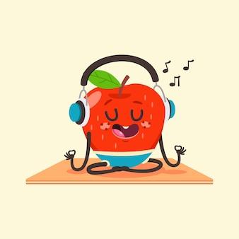 Słodkie dziecko apple w pozie jogi.
