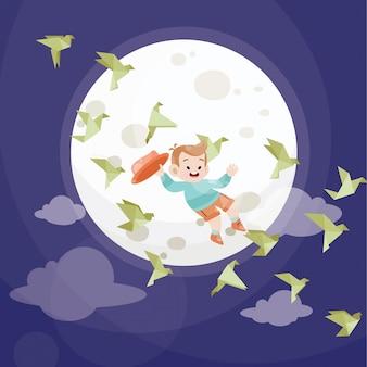 Słodkie dziecko bawić się gwiazdami i pełnią księżyca