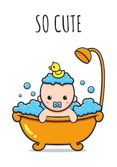 Słodkie dziecko bierze prysznic, więc urocza karta ikona kreskówka ilustracja projekt na białym tle płaski styl kreskówki