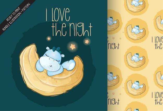 Słodkie dziecko dino śpi na księżycu ilustracja i wzór