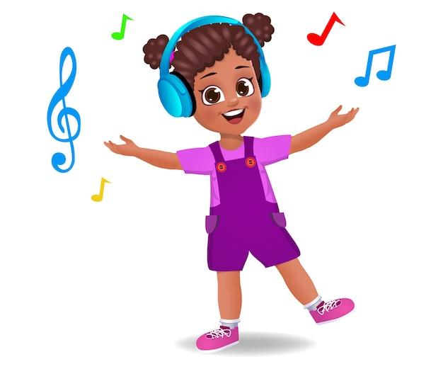 Słodkie dziecko dziewczynka słuchanie muzyki