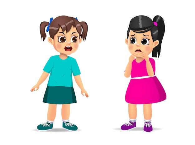 Słodkie dziecko dziewczyny zły i krzyczeć do małej dziewczynki. na białym tle