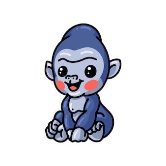 Słodkie dziecko goryl siedzi kreskówka