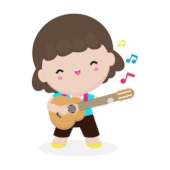 Słodkie dziecko gra na gitarze, szczęśliwa dziewczynka gra na gitarze. przedstawienie muzyczne. ilustracja na białym tle wektor na białym tle. w stylu kreskówki