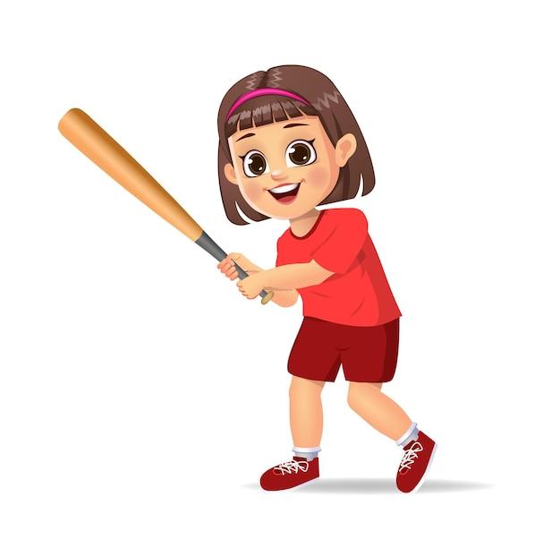 Słodkie dziecko gra w baseball