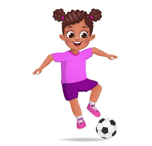 Słodkie dziecko gra w piłkę nożną