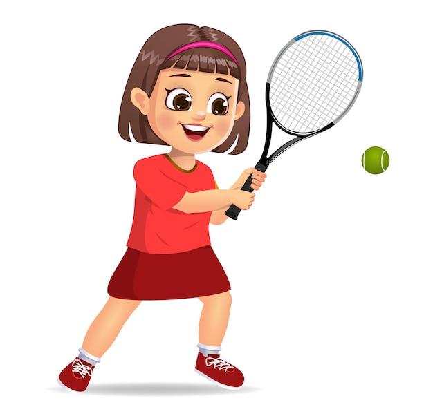 Słodkie dziecko gra w tenisa