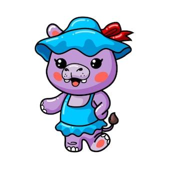 Słodkie dziecko hipopotam dziewczyna kreskówka stojąca