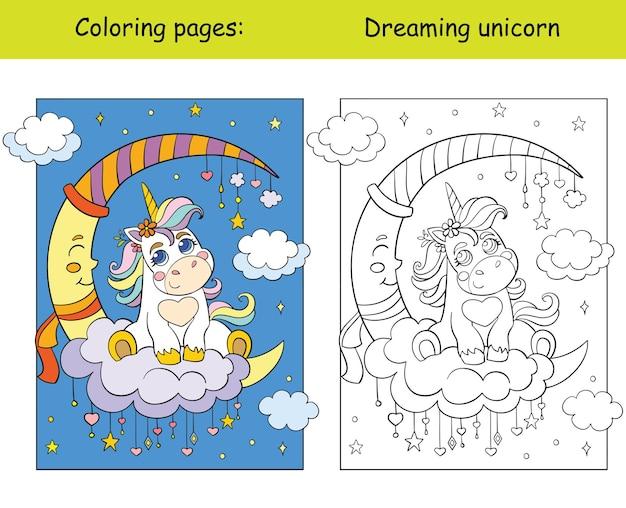 Słodkie dziecko jednorożca na chmurze. książka do kolorowania z kolorowym szablonem. ilustracja wektorowa.