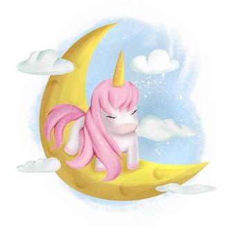 Słodkie dziecko jednorożca na księżycu