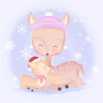 Słodkie dziecko jelenia i matki ręcznie rysowane