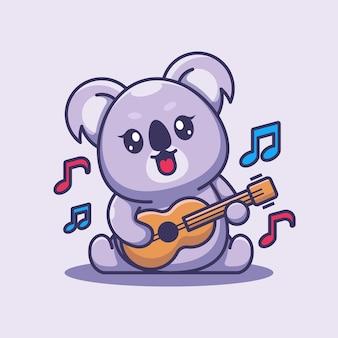 Słodkie dziecko koala gra na gitarze kreskówka
