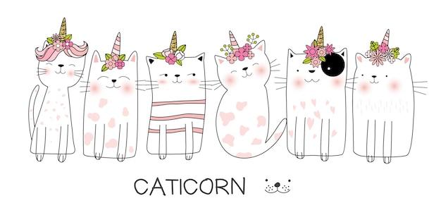 Słodkie dziecko kot ręcznie rysowane stylu