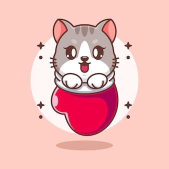 Słodkie dziecko kot w rękawiczce kreskówki