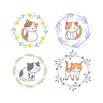 Słodkie dziecko kot zwierzę z ręcznie rysowane stylu cartoon wieniec kwiatowy