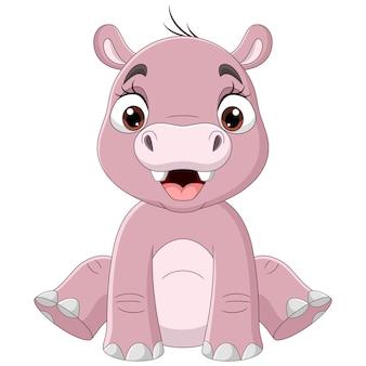 Słodkie dziecko kreskówka hipopotam siedzi