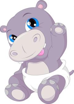 Słodkie dziecko kreskówka macha hipopotam