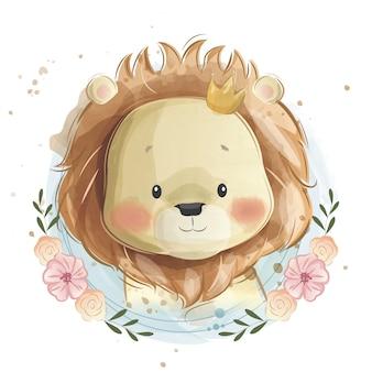 Słodkie dziecko lew portret