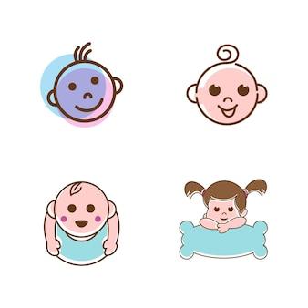 Słodkie dziecko logo wektor ikona ilustracja projekt szablon