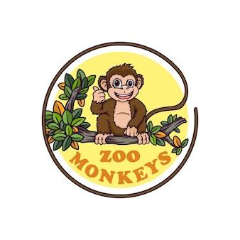 Słodkie dziecko małpa wiszące na drzewie ilustracji wektorowych zoo