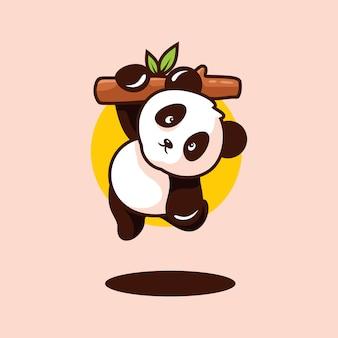 Słodkie dziecko panda clipart na białym tle
