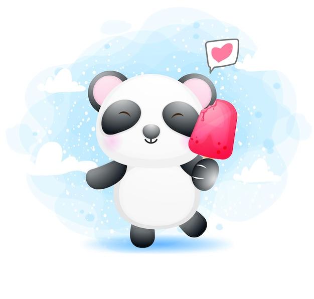 Słodkie dziecko panda trzyma lody
