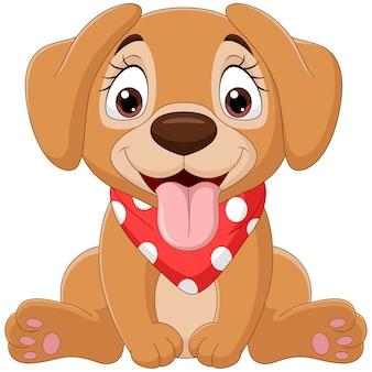 Słodkie dziecko pies kreskówka siedzi