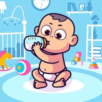 Słodkie dziecko pije mleko z kreskówki butelki