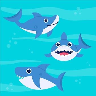 Słodkie dziecko rekin w płaskiej konstrukcji
