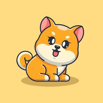 Słodkie dziecko shiba inu pies siedzi kreskówka