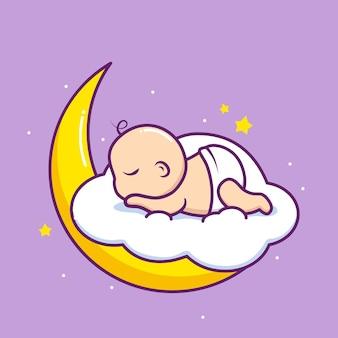 Słodkie dziecko śpi w chmurze