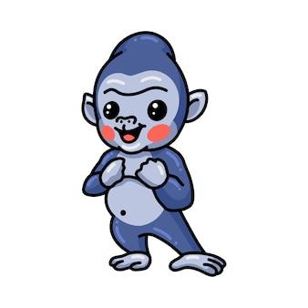 Słodkie dziecko stojące kreskówka goryl