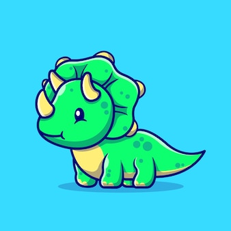 Słodkie dziecko triceratops postać z kreskówki. dino zwierząt na białym tle.